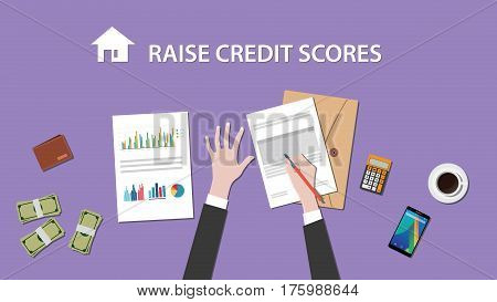 illustration of people counting raise credit score on a paperwork with money, folder document on top of table vector