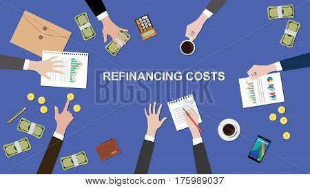 illustration of Refinancing costs discussion situation in a meeting with paperworks, money and coins on top of table vector