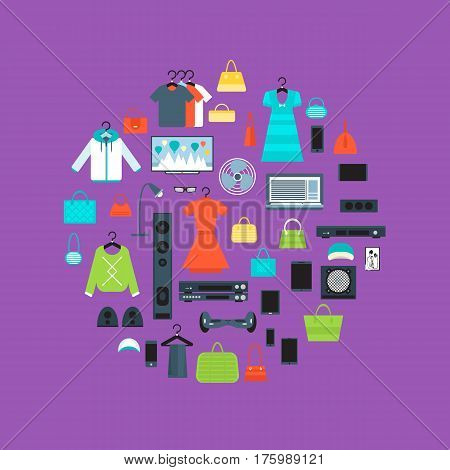 Shopping mall banner in flat design vector illustration. Store concept with clothes, electronic technics and gadgets. Shopping advertising, mall retail design, sale promotion trade business.