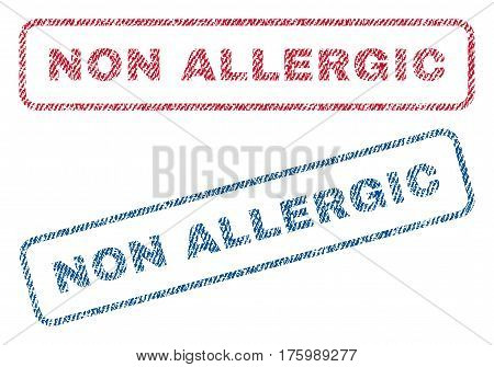 Non Allergic text textile seal stamp watermarks. Blue, red fabric vectorized texture. Vector tag inside rounded rectangular banner. Rubber sticker with fiber textile structure.