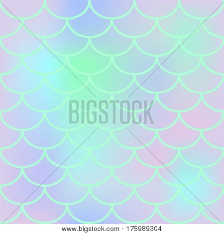 Fish scale seamless pattern. Square vector background with fish scale ornament. Pale pink and turquoise blue abstract pattern. Mermaid pattern or decor element. Magic fish skin. Mermaid tail backdrop