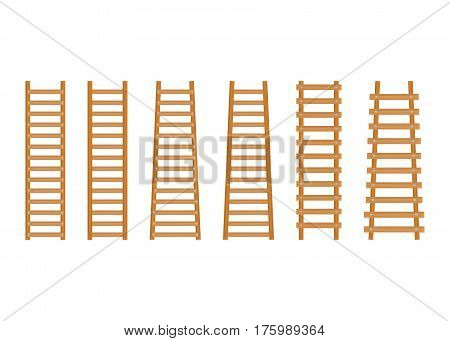 Set wooden step ladder. Classic staircase isolated on white background.