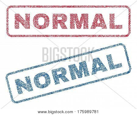 Normal text textile seal stamp watermarks. Blue, red fabric vectorized texture. Vector tag inside rounded rectangular shape. Rubber emblem with fiber textile structure.