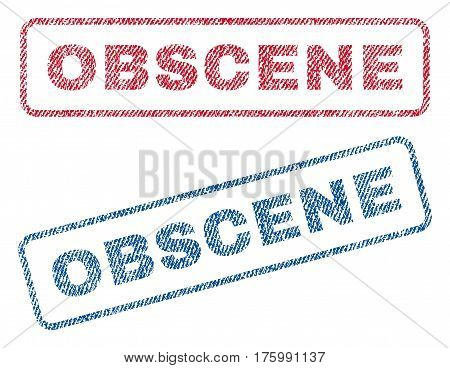 Obscene text textile seal stamp watermarks. Blue, red fabric vectorized texture. Vector caption inside rounded rectangular shape. Rubber sticker with fiber textile structure.