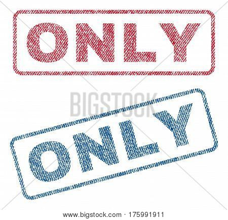 Only text textile seal stamp watermarks. Blue, red fabric vectorized texture. Vector caption inside rounded rectangular shape. Rubber sign with fiber textile structure.