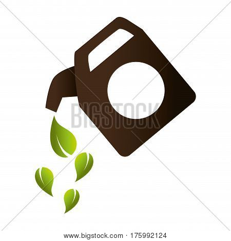gallon with leafs ecology icon vector illustration design