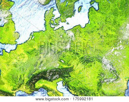 Eastern Europe On Earth - Visible Ocean Floor