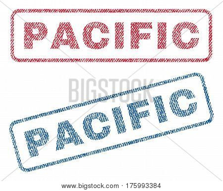Pacific text textile seal stamp watermarks. Blue, red fabric vectorized texture. Vector tag inside rounded rectangular banner. Rubber sign with fiber textile structure.