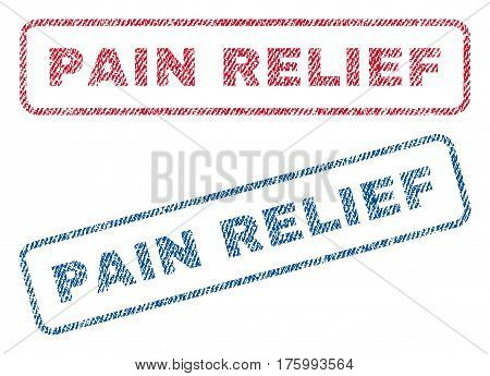 Pain Relief text textile seal stamp watermarks. Blue, red fabric vectorized texture. Vector tag inside rounded rectangular shape. Rubber emblem with fiber textile structure.