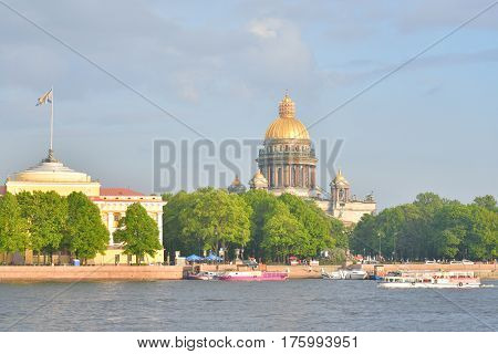 View of St. Isaac's Cathedral and the River Neva in center of Saint Petersburg Russia.