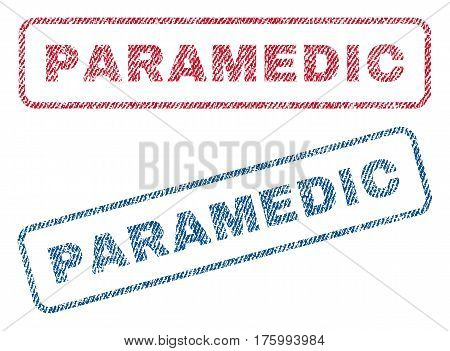 Paramedic text textile seal stamp watermarks. Blue, red fabric vectorized texture. Vector caption inside rounded rectangular shape. Rubber emblem with fiber textile structure.