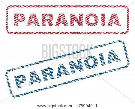 Paranoia text textile seal stamp watermarks. Blue, red fabric vectorized texture. Vector caption inside rounded rectangular banner. Rubber emblem with fiber textile structure.
