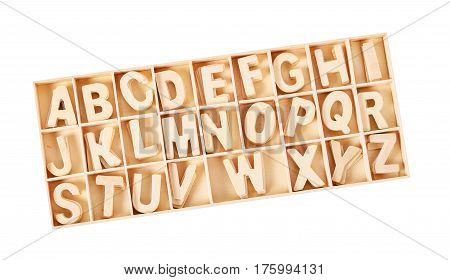 wooden letters ABC alphabet for kid in box isolated on white background. Save clipping path.