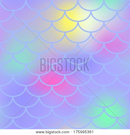 Violet fish scale vector seamless pattern. Magic Mermaid texture or background square swatch. Marshmallow colors gradient mesh. Mermaid pattern or decor element. Fish skin Mermaid tail decor element