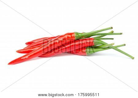 stack red chili or chili cayenne pepper isolated on white background