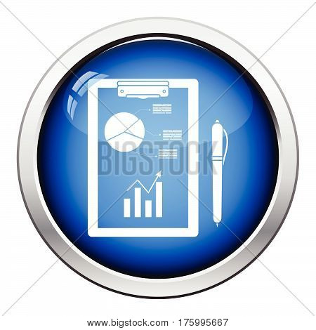 Writing Tablet With Analytics Chart And Pen Icon
