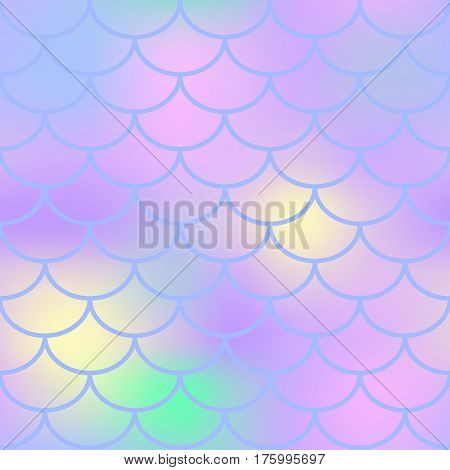 Pastel fish scale vector seamless pattern. Magic Mermaid texture or background square swatch. Marshmallow colors gradient mesh. Mermaid pattern or decor element. Fish skin Mermaid tail decor element