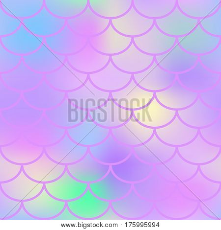 Pink fish scale vector seamless pattern. Magic Mermaid texture or background square swatch. Marshmallow colors gradient mesh. Mermaid pattern or decor element. Fish skin Mermaid tail decor element