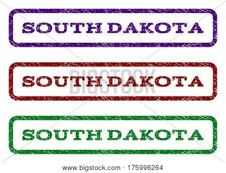 South Dakota watermark stamp. Text tag inside rounded rectangle with grunge design style. Vector variants are indigo blue, red, green ink colors. Rubber seal stamp with unclean texture.