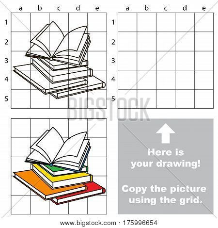 Copy the picture using grid lines, the simple educational game for preschool children education with easy game level, the kid drawing game with Many Books.