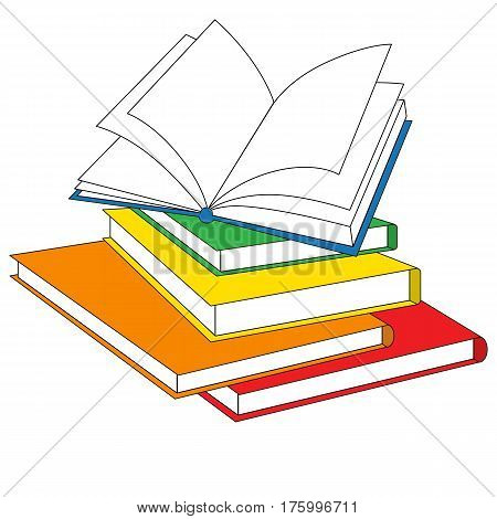 Many Books cartoon. Outlined object with black stroke.