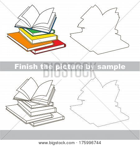 Drawing worksheet for preschool kids with easy gaming level of difficulty, simple educational game for kids to finish the picture by sample and draw the Books