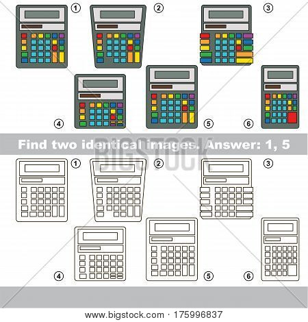 Educational kid matching game to find design difference, the task is to find similar objects, the educational game for kids with easy game level to compare items and find two same Calculators.