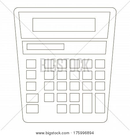 Calculator cartoon. Outlined object with black stroke.