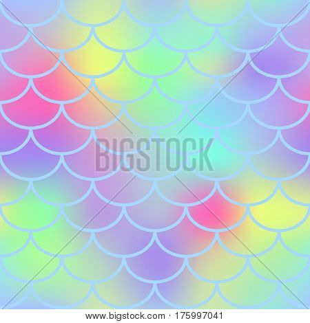 Fantastic fish skin vector seamless pattern. Square fishscale texture or background. Bright yellow pink gradient mesh. Mermaid pattern swatch. Fish skin texture with color mesh backdrop. Mermaid decor