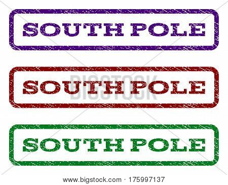 South Pole watermark stamp. Text caption inside rounded rectangle with grunge design style. Vector variants are indigo blue, red, green ink colors. Rubber seal stamp with scratched texture.