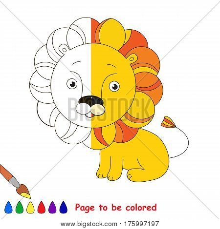 Toy Lion to be colored, the coloring book to educate preschool kids with easy kid educational gaming and primary education of simple game level, colorless half to be colored by sample half.