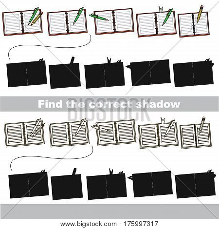 Copybooks set to find the correct shadow, the matching educational game to compare and connect objects and their true shadows, kid logic game with simple game level for preschool kids education.