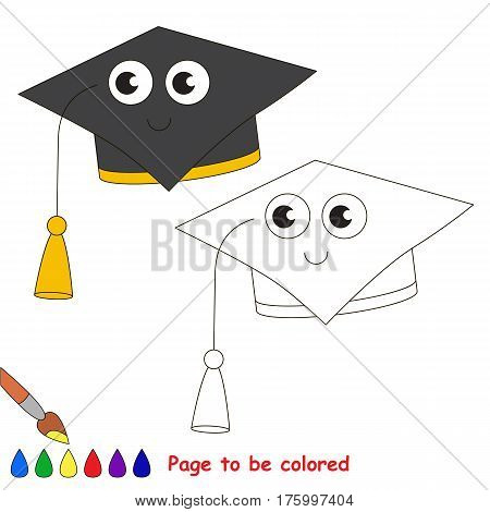 Education Hat to be colored, the coloring book to educate preschool kids with easy kid educational gaming and primary education of simple game level.