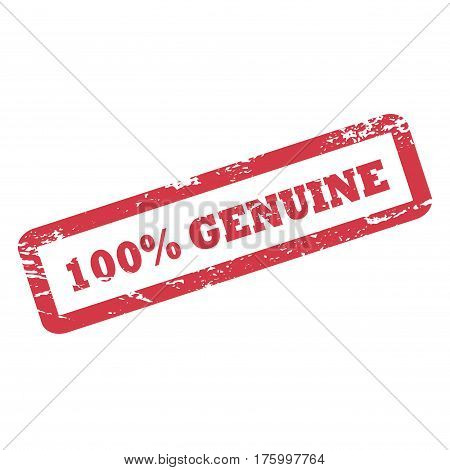 100 Percent Genuine inscription in rectangle frame. Red ink rubber stamp with rough texture. Genuine word vector icon isolated on white. Document stamp for product package or print design