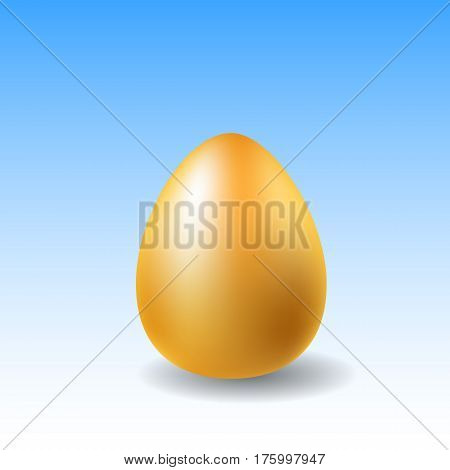 Golden egg for Easter vector illustration on blue background. Happy Easter precious gift. CHicken egg in golden metallic color. Luxury egg for spring holiday. Easter present card or banner template