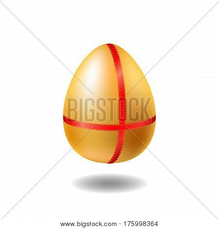 Golden egg with red ribbon and shadow. Chicken egg vector illustration on white background. Happy Easter present pack. Easter egg with precious metallic surface. Spring holiday banner design element