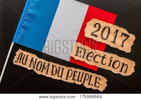 Elections in France.  Election 2017, inscription on crumpled piece of paper