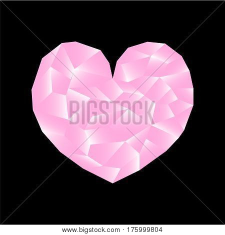 Polygonal heart vector illustration. Pink heart on black background square image. Valentine Day card or banner template. Low Poly Heart with shiny diamond effect. Love and romance pink diamond icon