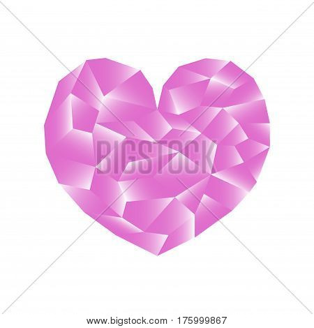Polygonal heart vector illustration. Pink heart icon on white background square image. Valentine Day card or banner template. Low Poly Heart with shiny diamond effect. Love and romance pink symbol