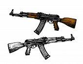 Weaponry, armament symbol. Automatic machine AK 47. Kalashnikov assault rifle, sketch. Vector illustration isolated on white background poster
