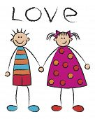 boy + girl = love / illustrated cartoon poster