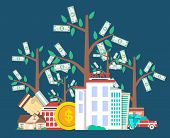 Investing in future concept with money tree vector illustration. Flat design for smart investment, finance and banking, commercial real estate, strategic management, financial analysis and planning poster