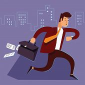 A manager or businessman is late hurry running. Man late for work runs with a suitcase falling paper. Businessman running and looking on watch. Human is late for work. Vector illustration. Cartoon character. poster