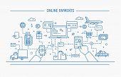 online payments, money transfer, financial transaction. Line art flat contour vector illustration. poster