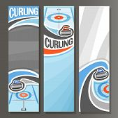 Vector Vertical Banners for Curling: 3 cartoon template for title text on curling theme, on ice rink granite rock, stone sliding in target, abstract vertical banner for inscription on grey background. poster