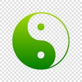 Ying yang symbol of harmony and balance. Vector. Green gradient icon on transparent background. poster