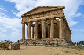 Temple of concord site in the Valley of Temples Agrigento