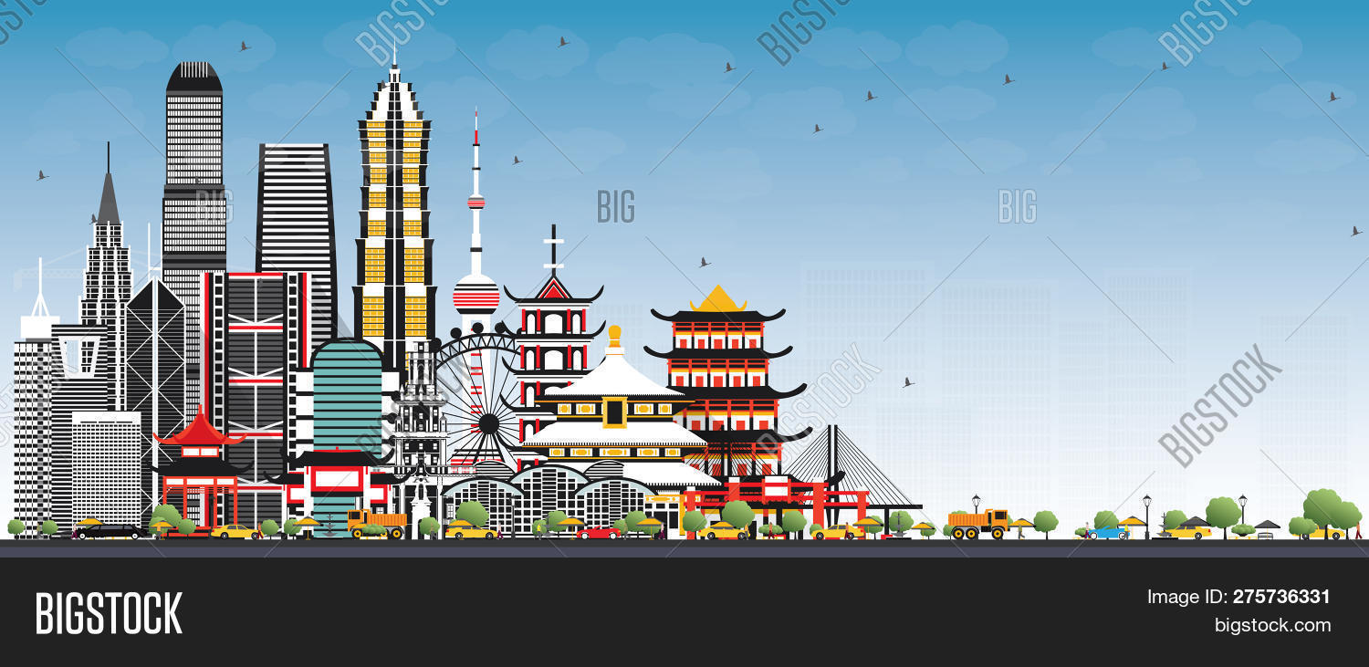 Welcome China Skyline Image Photo Free Trial Bigstock