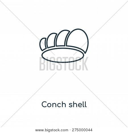 Conch Shell Icon In Trendy Design Style. Conch Shell Icon Isolated On White Background. Conch Shell