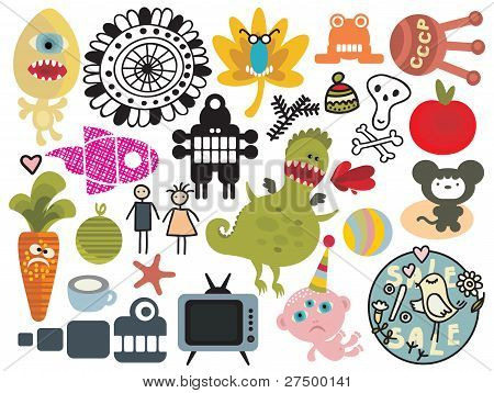 Mix of different vector images and icons. vol.26